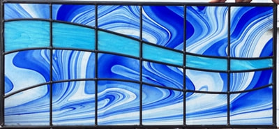 Cobalt and sky blue wave window